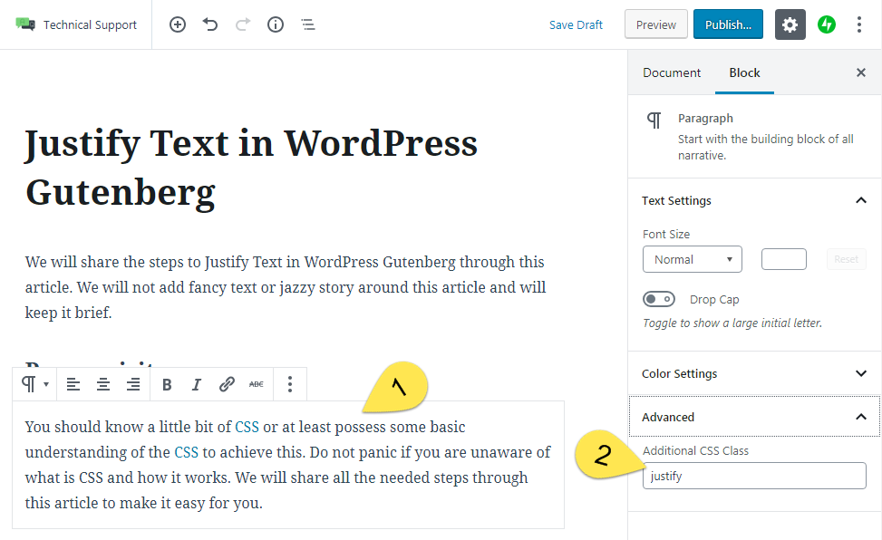 Justify Text in WordPress Gutenberg