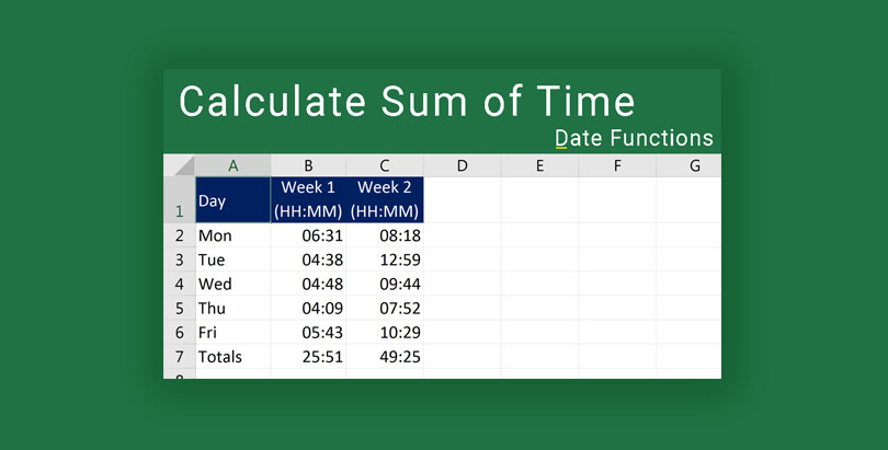 Calculate sum of time in Excel