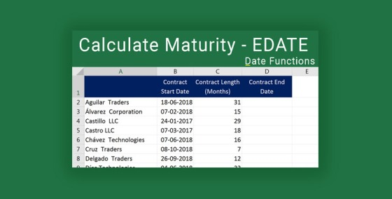 Calculate Product maturity in Excel
