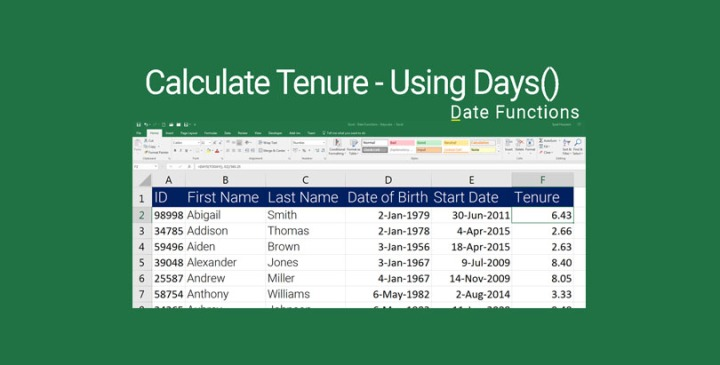 Calculate Tenure in Excel with Days Function
