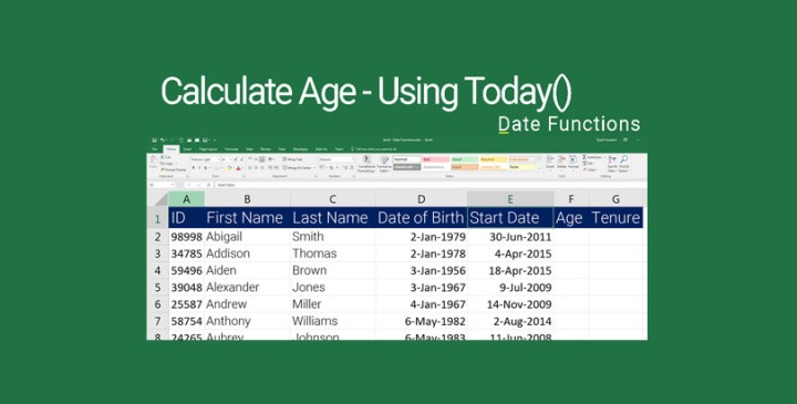 Excel - Calculate Age using Today Function in Excel