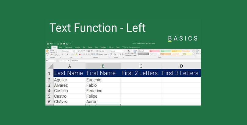 Excel Text Function - Left Function