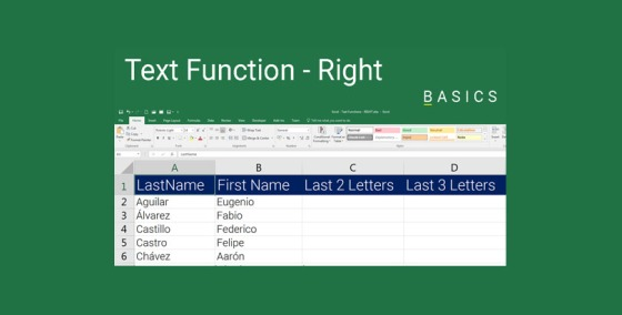 Excel Text Functions - Right Function