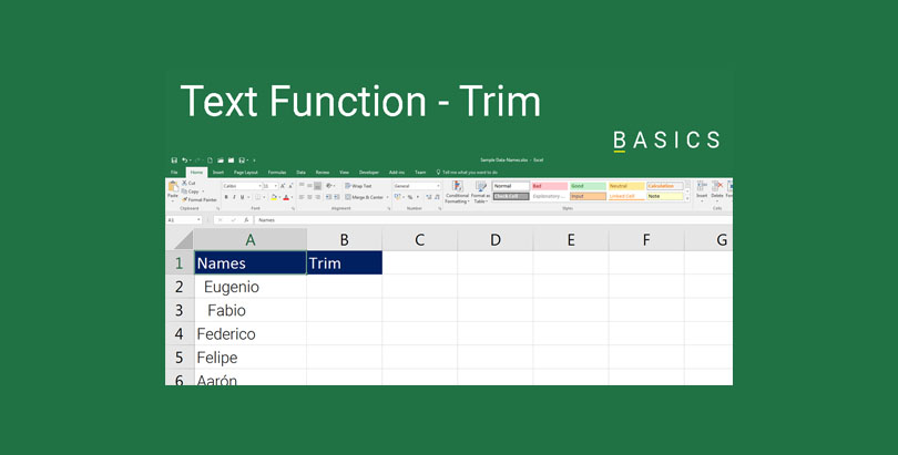 Excel - Text Function - Trim Demo