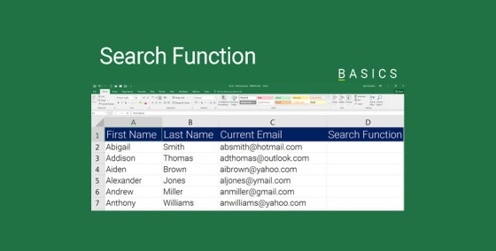 Excel Search function Demonstration