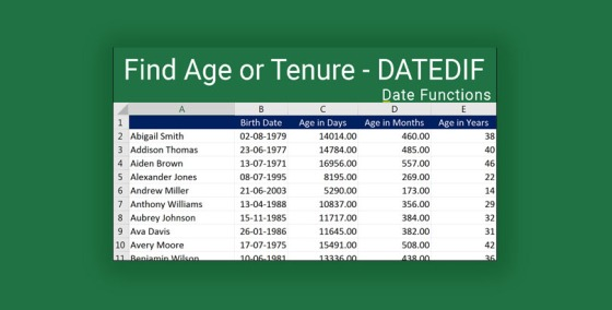 Find Age or Tenure using DATEDIF in Excel 2016