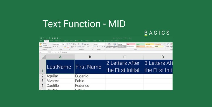 Excel Text Function - MID Function