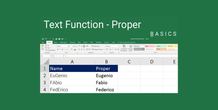 Excel Text Function - Proper Demo