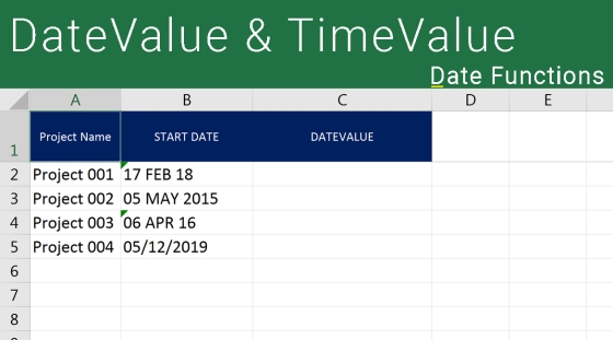 Excel DATEVALUE AND TIMEVALUE
