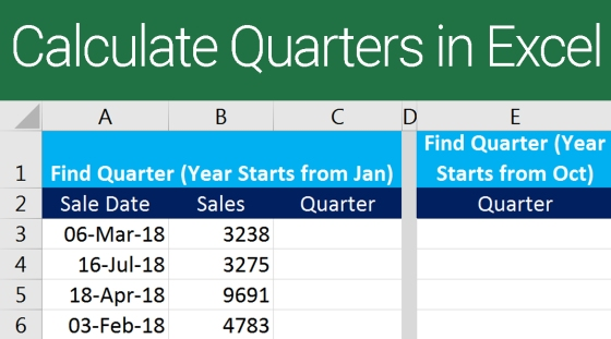 Find Quarter in Excel