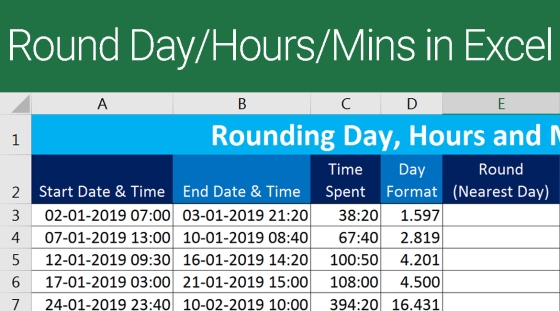 Rounding Day, Hour and Minutes in Excel