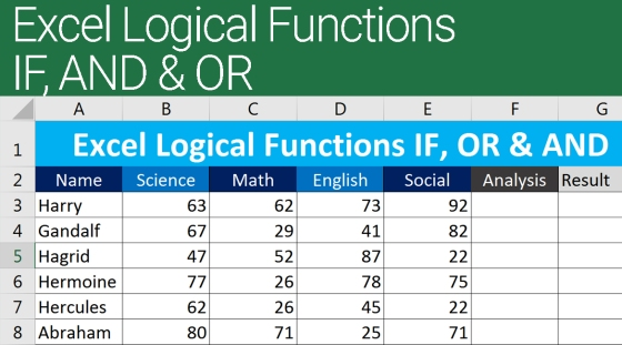 Excel Logical Functions IF, AND, OR