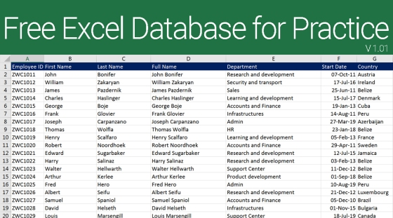 Free Excel Database Download