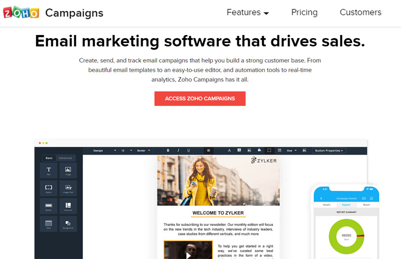 Zoho Campaigns Email Marketing Service