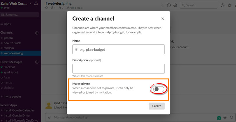 Create a Private Channel in Slack